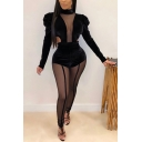 Unique Women's Set Solid Color Patchwork Mesh Gauze Mock Neck Long Puff Sleeves Slim Fitted Tee Top with Long Pants Co-ords
