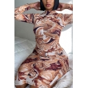Retro Womens Dress Abstract Color-Ink Diffusion Print Ruched Design Mock Neck Long Sleeve Slim Fitted Midi Bodycon Dress