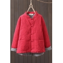 Womens Cheongsam-Jacket Fashionable Plaid-Lined Frog Button down Loose Fit Long Sleeve Stand Collar Padded Jacket