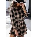 Trendy Women's Shirt Dress Plaid Pattern Button Closure Turn-down Collar Long Sleeves Regular Fitted Shirt Dress with Belt