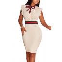 Unique Womens Dress Stripe Tape Decoration Tie-Neck Cap Ruffle Sleeve Slim Fitted Knee Length Bodycon Dress