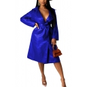 Womens Trench Coat Stylish Solid Color PU Leather Tie-Waist Long Sleeve Lapel Collar Longer Length Regular Fit Trench Coat