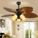 Frosted Glass Bell 5-Blade Hanging Fan Light Rural 52