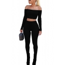 Womens Co-ords Chic Plain Rib Knitted Slim Fitted Pants Cropped off Shoulder Long Sleeve Tee Co-ords