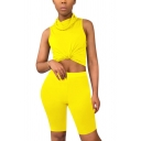 Trendy Women's Set Solid Color High Neck Sleeveless Slim Fitted Cropped Tank Top with High Waisted Shorts