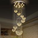 13 Lights Spiral Design Sphere Flushmount Modernism Stainless Steel Crystal Flush Ceiling Light Fixture