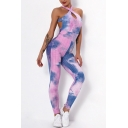 Sporty Women's Active Jumpsuit Tie Dye Pattern Quilted Halter Neck Backless Sleeveless Slim Fitted Jumpsuit