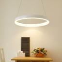 1/2/3-Tier Hoop Kitchen Dinette Pendant Metal Minimalist LED Hanging Chandelier in White