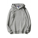 Mens Hoodie Chic Solid Color Drawstring Long Sleeve Relaxed Fitted Hooded Sweatshirt