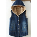 Vintage Womens Vest Medium Wash Thickened Sherpa Lined Button Fly Sleeveless Slim Fitted Hooded Denim Vest