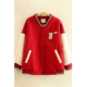 Womens Jacket Casual Bear Letter Yummy Embroidered Color Block Panel Thick Button Detail Long Sleeve Stand Collar Loose Fit Varsity Jacket