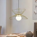 Dress Hem Pendant Light Kit Postmodern Iron 1-Light Black/Gold Hanging Ceiling Light with Ball Milk Glass Shade