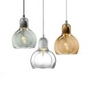 Gourd Shaped Hanging Light Fixture Modern Clear/Amber/Smoke Grey Glass Single Restaurant Suspension Pendant, 4