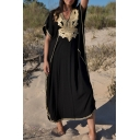 Tribal Style Women's T-Shirt Dress Floral Embroidered Contrast Trim Slit Batwing Sleeves V Neck Batwing Sleeves T-Shirt Dress