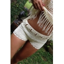 Classic Womens Short Shorts Hand Hook Hollow out Knitted Sun-Protection Slim Fitted Beach Shorts