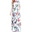 Pretty Ladies White Short Sleeve V-Neck All Over Butterfly Printed Maxi Flowy Dress