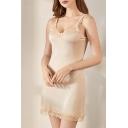 Elegant Slip Dress Solid Color Lace Trims Scoop Neck Sleeveless Fitted Short Slip Dress for Women