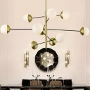Postmodern Ball Chandelier Light White Glass 10 Bulbs Living Room Suspension Lamp with Tiered Arm in Gold