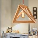Triangular Pyramid Wood Suspension Lamp Minimalist 1 Bulb Beige Hanging Pendant, 12.5