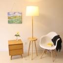 Drum Shade 3-Leg Floor Lamp Simplicity Fabric Single Wood Reading Floor Light with Table
