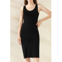 All-Match Tank Dress Solid Color Knitted Scoop Neck Sleeveless Slim Fitted Tank Dress for Women