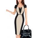 Womens Dress Trendy Color Block Panel Invisible Zipper Split Back Asymmetric Neck Short Sleeve Slim Fitted Knee Length Pencil Dress