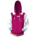 Mens Hoodie Trendy Color Block 3D Cosplay Masha and the Bear Drawstring Zipper up Slim Fitted Long Sleeve Hoodie