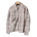 Basic Womens Coat Plaid Pattern Flap Chest Pockets Button Detail Long Sleeve Turn-down Collar Loose Fit Wool Coat