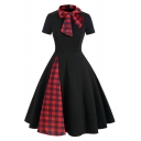 Creative Womens Dress Color Block Plaid-Patchwork Zipper Back Bowknot Stand Collar Short Sleeve A-Line Slim Fitted Midi Swing Dress