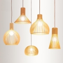 1-Light Dining Room Hanging Light Asian Beige Small/Large Ceiling Pendant with Dome/Globe/Cone Cage