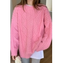 Fancy Women's Sweater Cable Knit Round Neck Rib-Knit Trim Crew Neck Long Sleeves Loose Fit Pullover Sweater