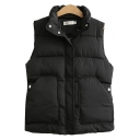 Fancy Women's Vest Solid Color Quilted Side Pocket Banded Waist Zipper Fly Button Design Stand Collar Sleeveless Relaxed Fit Down Vest