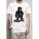 Funny Sad Pepe the Frog Summer Basic Round Neck Short Sleeve White T-Shirt