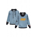 Womens Jacket Cool Faded Wash Letter Ateez Pattern Ripped Contrast Patchwork Frayed Detail Button up Hooded Regular Fit Long Sleeve Denim Jacket