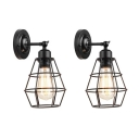 Diamond Cage Iron Wall Light Industrial 1 Head Dining Room Wall Mounted Lamp with/without Plug-in Cord in Black