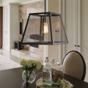 Matte Black Square Hanging Lantern Traditional Iron and Glass 1-Light Pendant Light