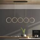 Ring Kitchen Island Pendant Metallic 5-Head Minimalist LED Hanging Light in Black, Warm/White Light