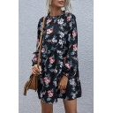 Stylish Womens Swing Dress All over Floral Print Ruffled Trim Pleated Long Bishop Sleeves Round Neck Relaxed Fitted Swing Dress