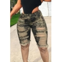 Basic Womens Shorts Camo Pattern Ripped Fringe Hem Stretch High Rise Knee-Length Slim Fitted Denim Shorts