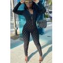Basic Womens Jumpsuit Plain Hollow out Design Zipper Front Mock Neck Slim Fitted Long Sleeve Jumpsuit