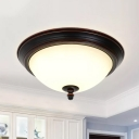 Classic Bowl Flush Ceiling Light Opal Glass LED Flush-Mount Light Fixture in Black/Bronze/Dark Coffee, 15
