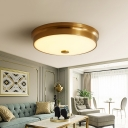 Gold Round/Bowl Ceiling Lighting Minimalist Opal Frosted Glass 12.5