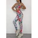 Basic Womens Co-ords Floral Leaf Pattern Sweat-Absorbing Skinny Fitted Leggings Scoop Neck Strap Cropped Sleeveless Cami Top Yoga Co-ords