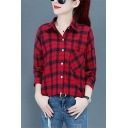 Popular Female Long Sleeve Lapel Collar Button Down Checker Print Pocket Panel Loose Fit Shirt