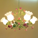 Pastoral Bloom Pendant Ceiling Light 6-Head Opaline Glass Chandelier with Pink Rose and Leaf Decor in Green