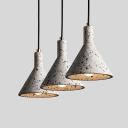 Nordic Cone Shaped Pendant Light Kit 1 Bulb Terrazzo Hanging Light Fixture in Black/White