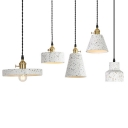 Cone/Round/Drum Bedside Drop Pendant Terrazzo Single-Bulb Nordic Ceiling Hang Light in White