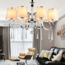 4/6/8 Heads Chandelier Lamp Traditional Tapered Fabric Suspension Light in Chrome and White and Crystal Droplet