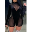 Sexy Women's Romper Contrast Panel Solid Color Mesh Gauze Transparent Design Mock Neck Long Sleeves Slim Fitted Romper