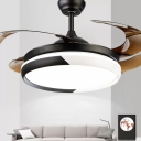 4-Blade Nordic Round Ceiling Fan Light Acrylic Living Room LED Semi Flush Mount Lamp in Black/Blue-White, 20